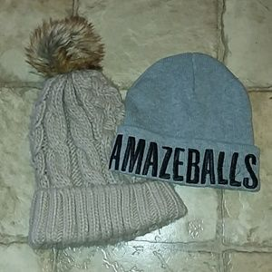 Amazeballs beanie and tan beanie with fuzz ball to
